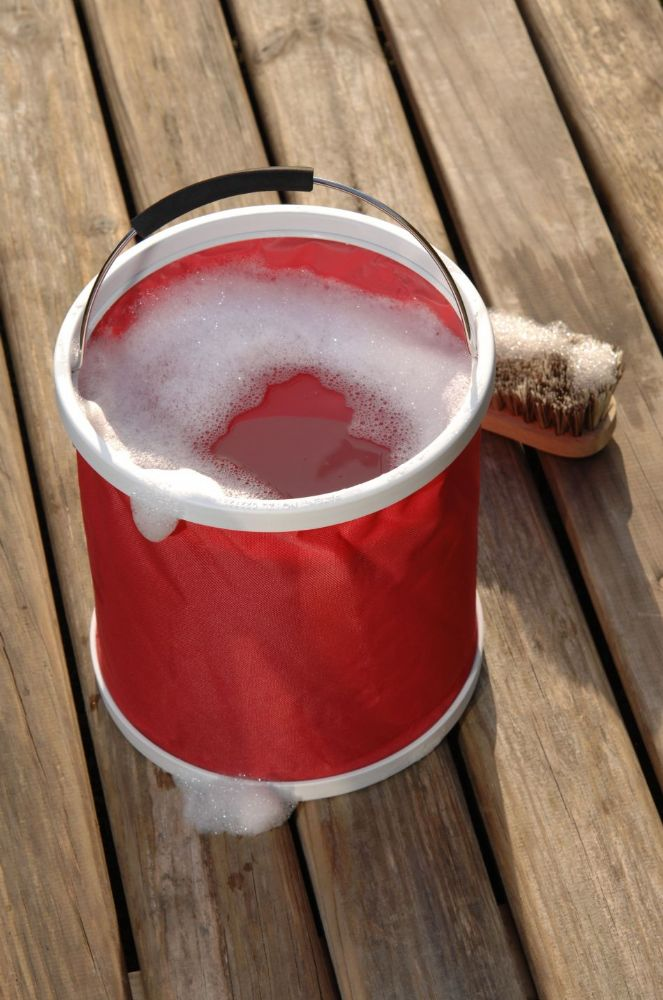 Red Bucket in a bag - folds down flat for easy storage